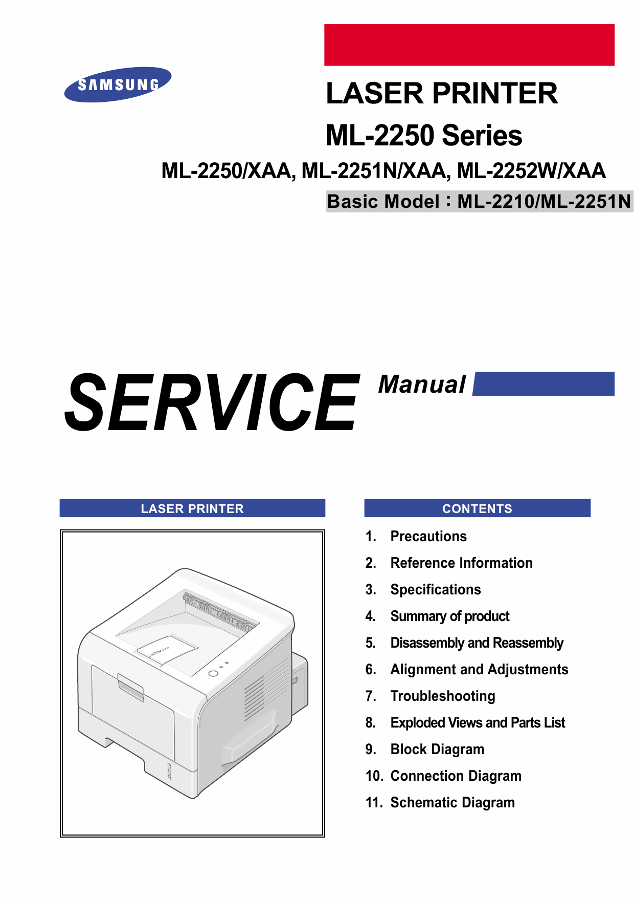 Samsung Laser-Printer ML-2250 2251N 2252W Parts and Service Manual-1